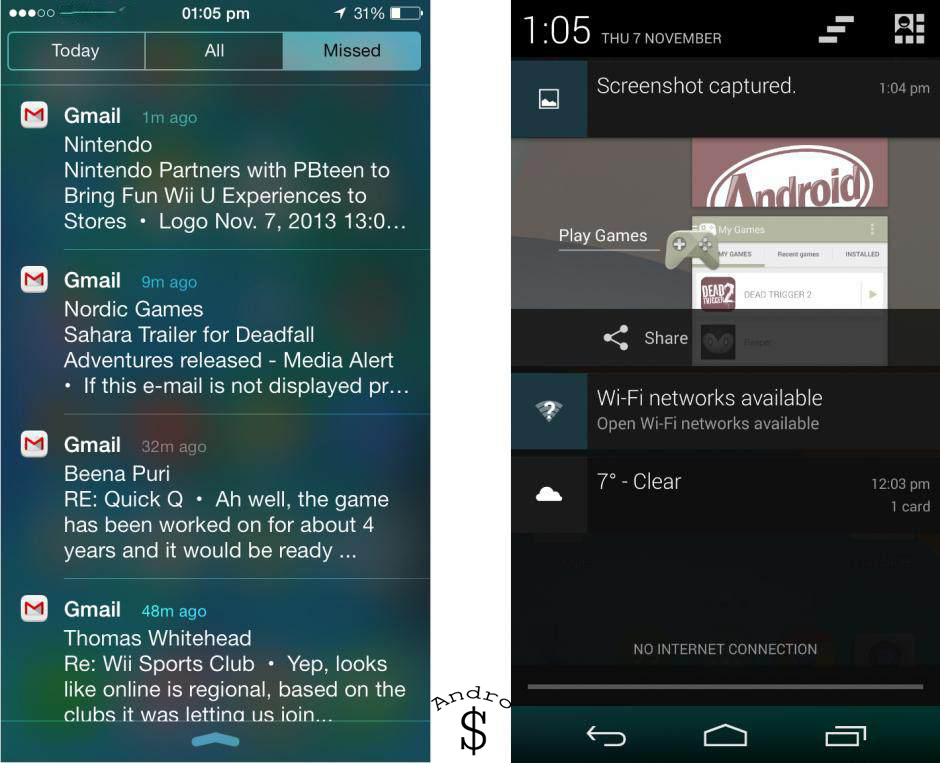 Notifications - iOS 7 vs Android 4.4 KitKat – The Smartphone Wars