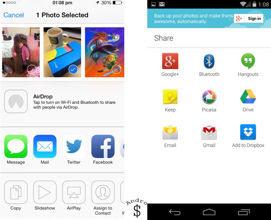 Sharing - iOS 7 vs Android 4.4 KitKat – The Smartphone Wars