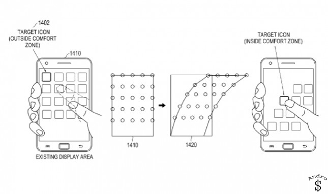Samsung Patent 2 - Samsung Patents a new type of interface, that makes one-handed tasks simple