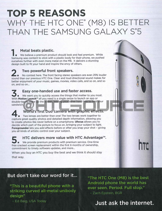HTC One M8 Docs 2 - LEAKED : HTC sales materials which makes case for why the One M8 beats the Galaxy S5