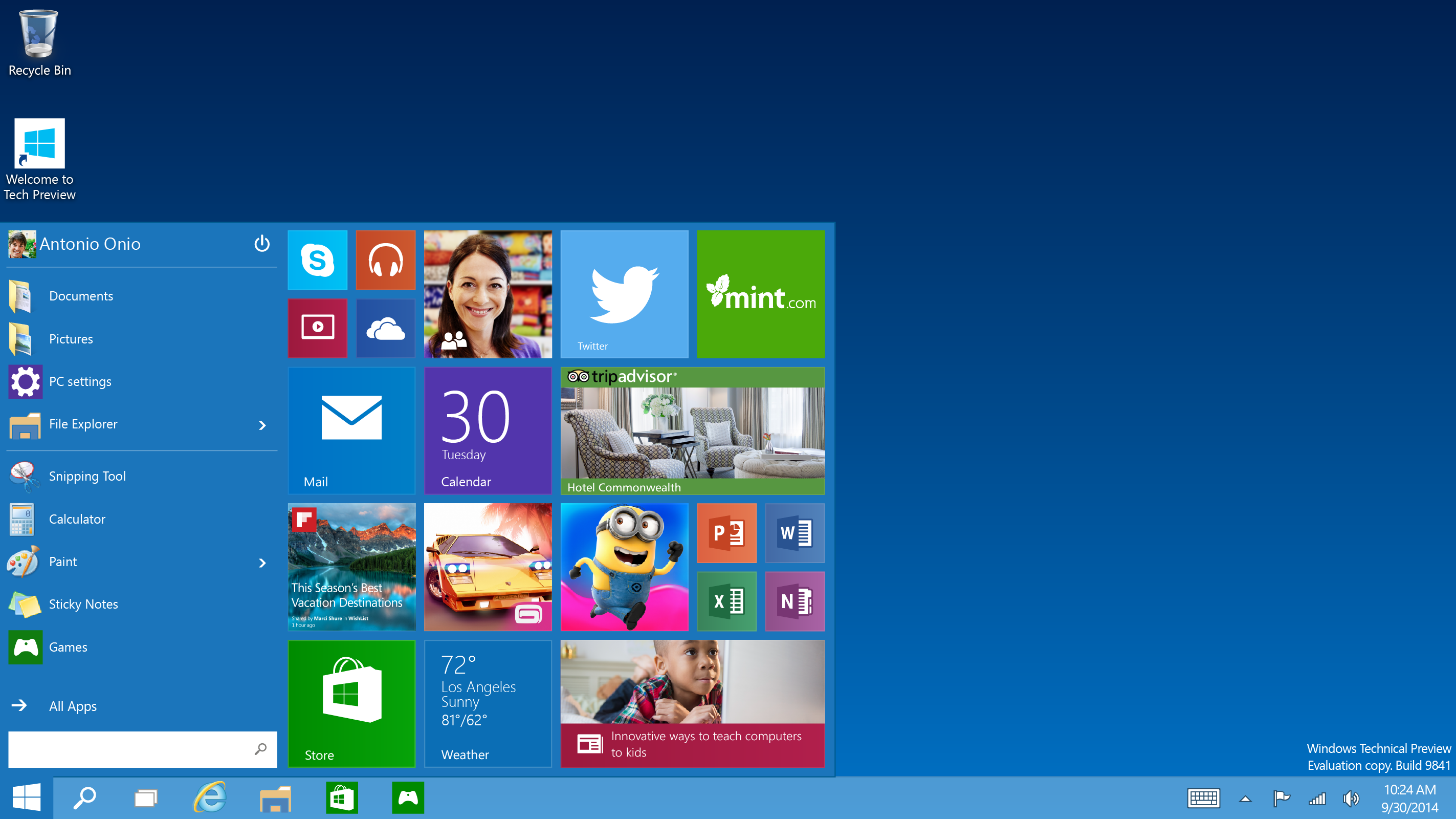 Tech Preview Start menu - Microsoft Unveils Windows 10 with Major Improvements [Download Link Here]