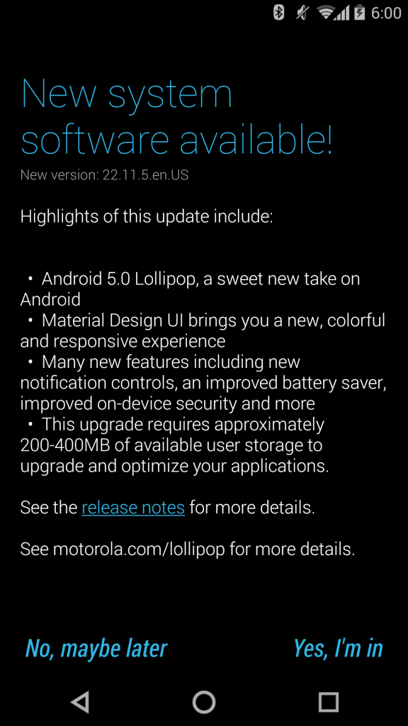Android 5.0 to Moto X Pure Edition via Soak Test - Motorola Moto X (2014) Pure Edition Now receiving the Android 5.0 Lollipop Update