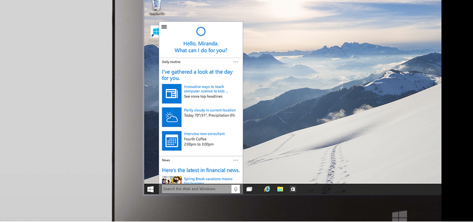 Cortana Windows 10 Andro Dollar - Microsoft Updates the Developer Preview of Windows 10 with Cortana, Spartan Browser  & many New Design Elements