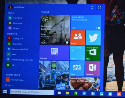 Start Screen Windows 10 Andro Dollar - Microsoft Updates the Developer Preview of Windows 10 with Cortana, Spartan Browser  & many New Design Elements