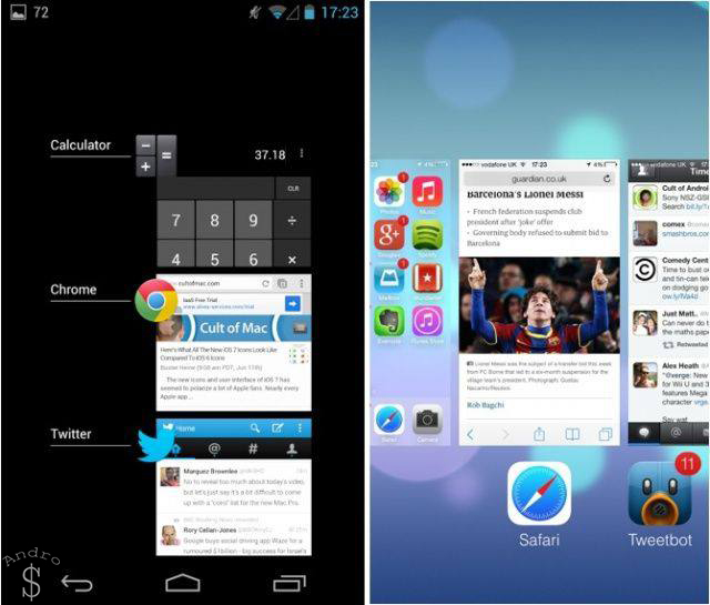 Multitasking - iOS 7 vs Android 4.4 KitKat – The Smartphone Wars