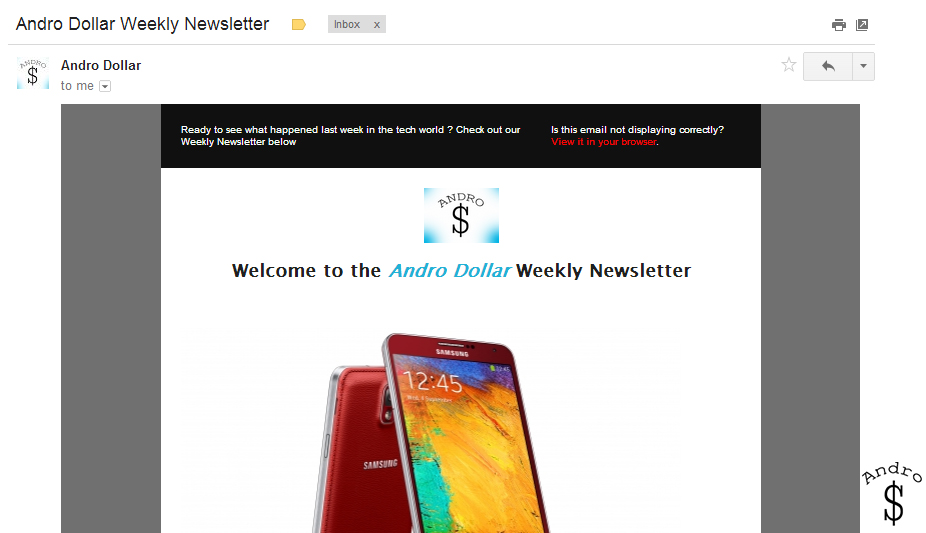 Newsletter 1 - Andro Dollar Weekly Newsletter