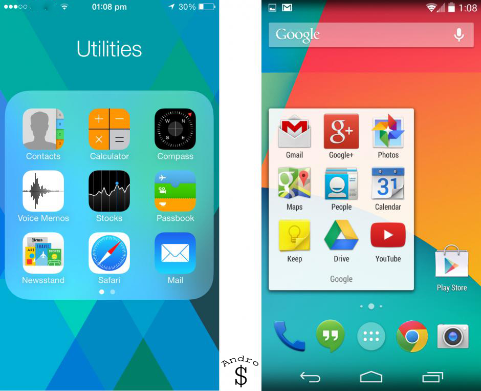 System Apps - iOS 7 vs Android 4.4 KitKat – The Smartphone Wars