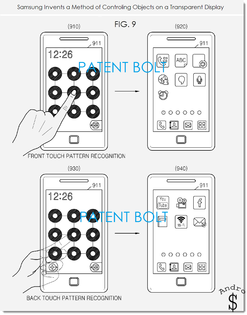 Patent 1 - Samsung patents backside touch controls for devices with transparent displays