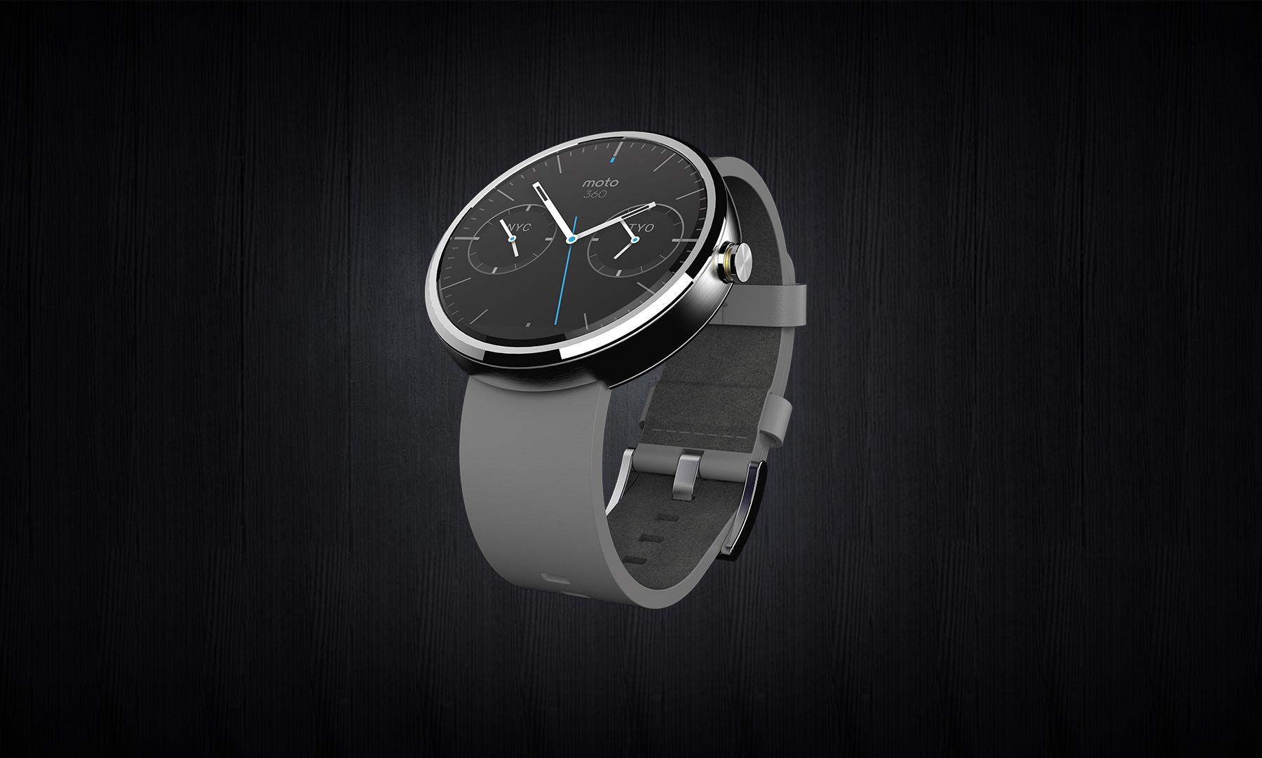 Moto360 Leather RGB - Meet the Moto 360; Motorola's First Smartwatch