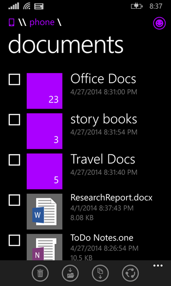 JDPiChl - Screenshots of the Official Windows Phone File Manager emerge