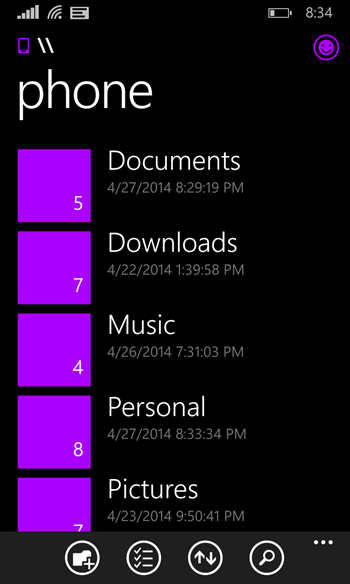 vZdjOAF - Screenshots of the Official Windows Phone File Manager emerge