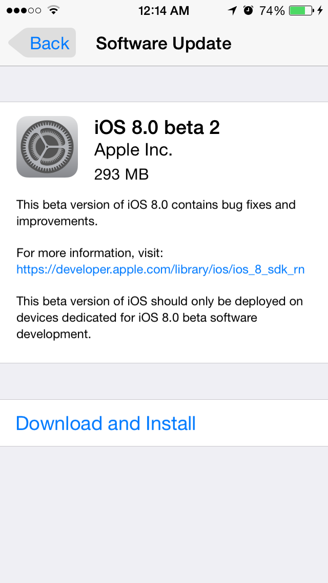 iOS8Beta2 iPhone5S AndroDollar 1 - iOS 8 Beta 2 Now Seeding to Developers [Download ipsw here]