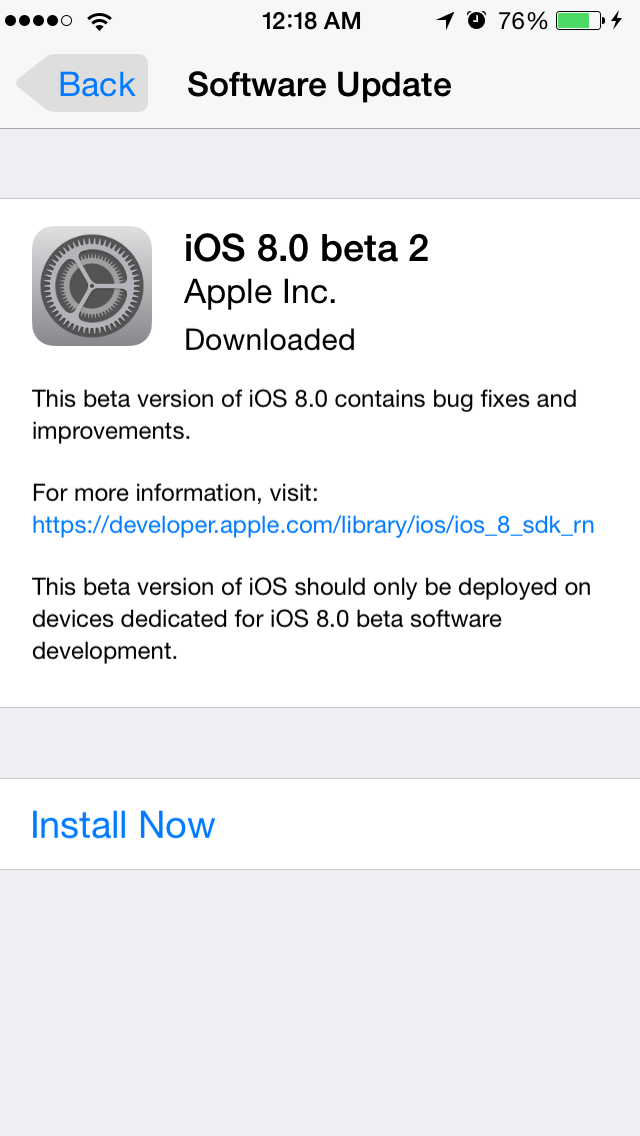 iOS8Beta2 iPhone5S AndroDollar 5 - iOS 8 Beta 2 Now Seeding to Developers [Download ipsw here]
