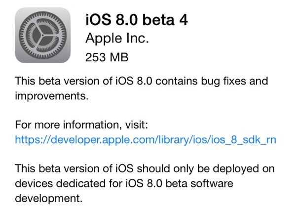 ios 8 beta 4 - iOS 8 Beta 4 Now Seeding to Developers [Download ipsw here]