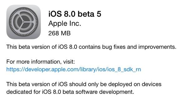 iosbeta5 - iOS 8 Beta 5 Now Seeding to Developers [Download ipsw here]