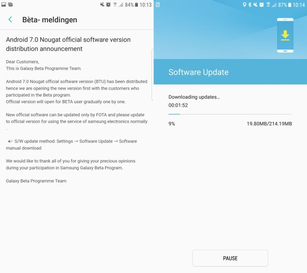 nougat s7 edge official 1 608x540 - Samsung starts rolling out the Android 7.0 Nougat update to the Galaxy S7 and Galaxy S7 edge