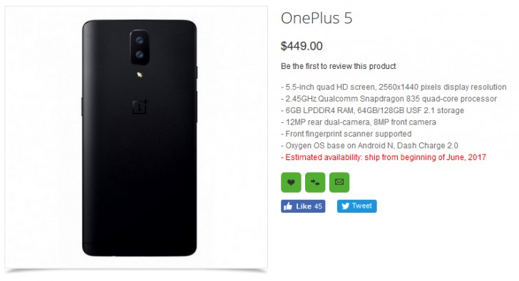 oneplus5specs leak - OnePlus 5 Specifications and Price revealed in new listing